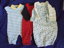 004 Lot Baby Boys Size 0-3 Months Knit 2 Sleep Bags 2 Day Outfit Great Cond