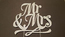 MR E Mrs CAKE TOPPER-Glitterate Argento wedding cake topper, accessori