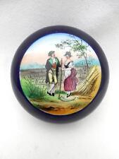 Vintage / Antique Powder or Trinket Box Cobalt Glaze Hand Colored LOVERS