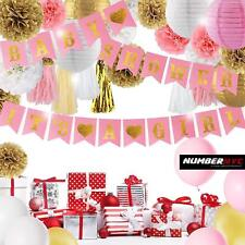 Pink & Gold Baby Shower Decorations It's a Girl Pennant Banner Balloon Pom Poms