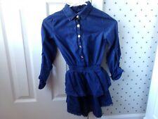 Girls Ella Moss Indigo Blue Shirt Top Faux Denim (lightweight) Sz 10 SNUG Fits 8