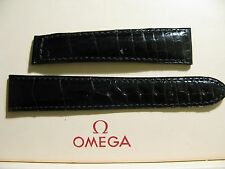Ex-Display Omega 19mm GLOSSY Black Crocodile Leather Deployment Strap