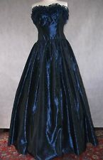 Spectacular LAURA ASHLEY vintage taffeta midnight blue ball gown dress 16 14 12