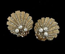 Exquisite Signed Miriam Haskell Shell Faux Barouque Pearl Rhinestone Earrings