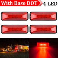 4x Red 4LED Side Marker Lights Lamp Truck Car Trailers Indicator 12V Waterproof