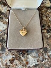 """Heart-shaped Gold Locket Necklace on chain 12kt. """"Love Bill"""" in Case"""