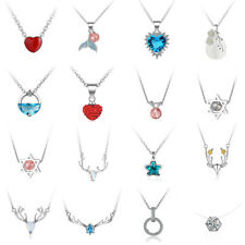 Korean Crystal Heart CZ Pearl Necklace Chain Pendant Fashion Women Jewelry Gifts