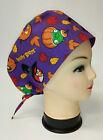 Purple Angry Birds Halloween 100% Cotton Tie-Back Euro Style Scrub Hat/Cap NWOT