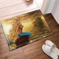 Mermaid Girl and Pirate Ship At Sea Non Slip Kitchen Rug Bathroom Mat Door Mat
