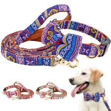 Cute Small Large Dog Collar and Leash Handle Adjustable Unique Design Bow Tie
