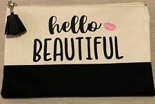 "makeup bag small- ""Hello Beautiful� -tasseled-tan,black,pink"