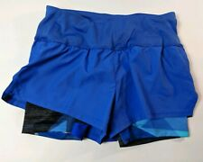 Champion Women's XS Extra Small Blue Running Shorts 2 in 1 Compression Lined