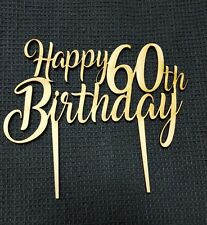 Laser Cut Wooden Cake Topper - Happy (Age) Birthday