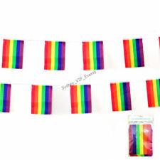 Rainbow Party 12 Flag Bunting 3.6m Hanging Banner Mardi Gras Lesbian Gay LGBT