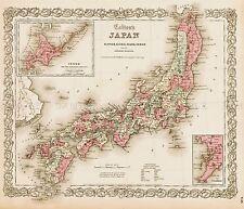 Mappa ANTICA Colton 1855 Giappone ANTICHI GRANDI REPLICA poster stampa pam0831