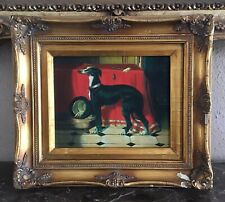 Antique Style Oil Painting Portrait of a Black Greyhound Dog Framed European Art