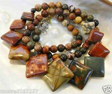 Natural 6-18mm Multicolor Picasso Jasper Round & Square Beads Necklace