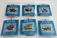 Lot of 6 MILL HILL SLEIGH RIDE Counted Glass Bead Charmed Ornament KITS 2017