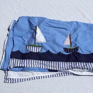 "Sailboats Nautical Crib Bedskirt pottery Barn Kids Blue 16"" Drop Cotton"