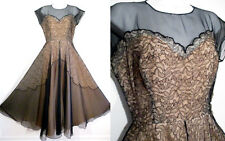 1950's LACE ILLUSION DRESS Sheer 50's Gown Full Skirt Vintage Formal Prom Party