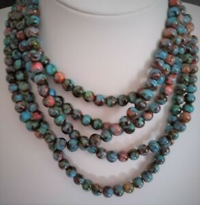 8mm Multi-Coloured Glass Bead Necklace (Choice Length & Clasp) CLEARANCE PRICE