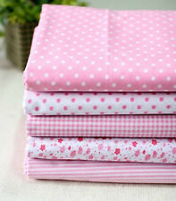 BY THE YARD Dandy Pink Cotton Blend Fabric polka dot checked Polycotton fCB089*