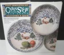Tienshan Folk Craft Cabin in the Snow Stoneware Completer Set Bowls & Platter NB