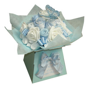 Baby Bouquet 19 items of Baby Clothes - Baby Shower Gift - Nappy Cake -Baby Boy