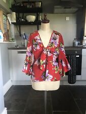 Red Floral Blouse From Topshop. Size 8.