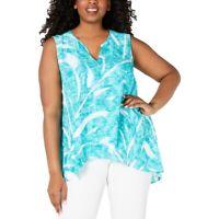 Alfani Womens Plus 1X Teal Fade Palm Print Crossover Tunic Tank Top NWT
