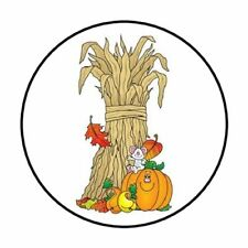 "48 Corn Stalks Pumpkin Fall Envelope Seals Labels Stickers 1.2"" Round"