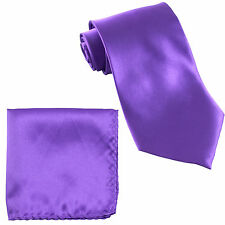 New Polyester Men's Neck Tie & Pocket Square Hankie Set Shiny Finish Purple prom