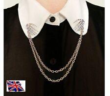 BONE HANDS Shirt COLLAR CHAIN Neck Tip SILVER Brooch Pin Chain Tassels   d11