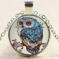 Blue Owl Cabochon Tibetan Glass Silver Alloy Chain Pendant Necklace FREE SHIP