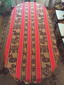 "Peru Andean Inca Cotton Table Cloth   100 X 52"" Red Gold Black"