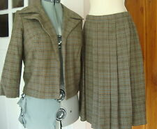 Vintage 60s Craig Craely AquaOlive Houndstooth Wool Pleat Skirt Suit Open Jacket