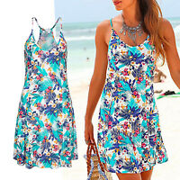 mini Kleid Strandkleid türkis geblümt Gr.40 L Sommerkleid Jersey sexy Rücken
