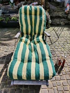 Unused Garden Reclining Chair lounger Thick Padded Seat Cushion Green Stripe