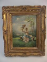 Antique French Oil Painting Signed Carved Gold Gilt Wood Frame Women Putti Cupid