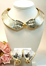 Vintage LES BERNARD  Costume Jewelry Wide Silver Gold  Earring Necklace Set
