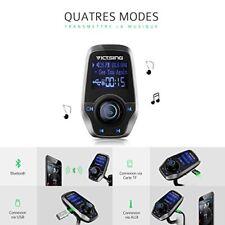 Victsing Transmetteur FM Bluetooth Adaptateur autoradio Kit Gris