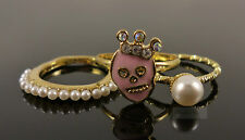 Gold Pearl Pink Skull Costume Jewellery Ring Set
