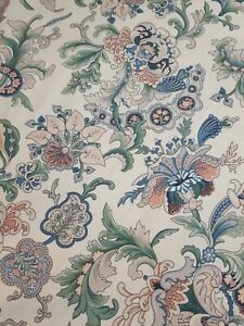 Vintage  FLORAL 1 Pair of Handmade Tab Unlined  Curtains Drapes 1990s 48 x 64
