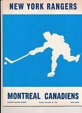Montreal Canadiens Beat New York Rangers 2-1 1966 Hockey Program w TICKETS MORE!