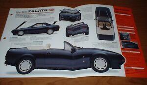 1987 ASTON MARTIN ZAGATO ORIGINAL IMP BROCHURE SPECS INFO 87 86 89