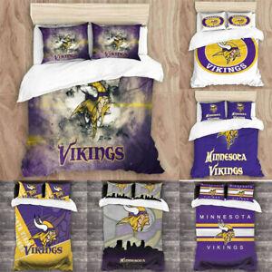 Minnesota Vikings 3PCS Duvet Quilt Pillowcases Comforter Cover All Season US