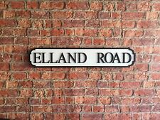 Vintage Wood London Street Road Sign ELLAND ROAD
