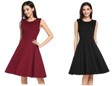 Zeagoo Skater Dress A-Form Empire Abendkleid Sommerkleid Damen Kleid rot schwarz