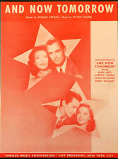 ALAN LADD & LORETTA YOUNG sheet music AND NOW TOMORROW (1944) HAYWARD