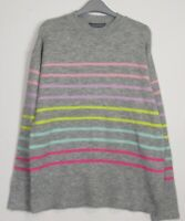 Ex Dorothy Perkins Candy Stripe jumper - Grey - Black - Size 8 - 20